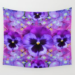 PURPLE PANSIES & BLUE & PINK HYDRANGEAS GARDEN Wall Tapestry