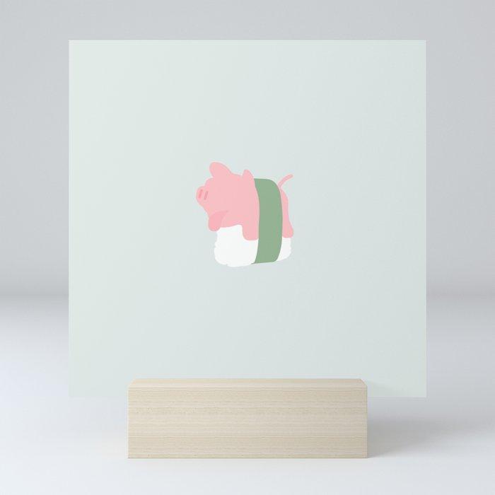 Rosa the Pig Sushi (Grey) Mini Art Print