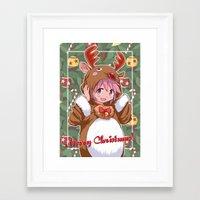 madoka magica Framed Art Prints featuring Xmas Madoka Magica by Neo Crystal Tokyo