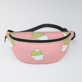 cute cartoon lovely cactus on pink background pattern Fanny Pack
