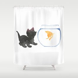 Cat and Goldfish Inspired Silhouette Shower Curtain