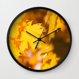 Golden Fall Leaves Wall Clock