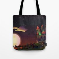 the neighbourhood Tote Bags featuring Creepy Neighbourhood by Anne Elster
