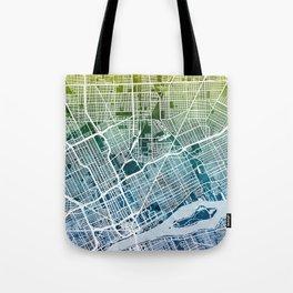 Detroit Michigan City Map Tote Bag