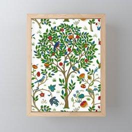 William Morris Tree of Life Pattern, Green & Multi Framed Mini Art Print