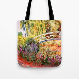 """Claude Monet """"Water lily pond, water irises"""" Tote Bag"""