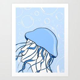 Jellyfish Hat Art Print