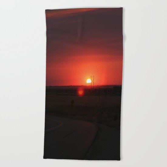 Sunset Highway Beach Towel