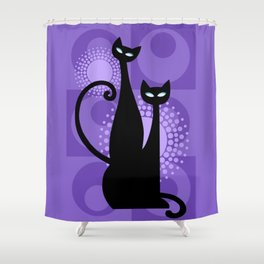 Purple Paradise Atomic Age Black Kitschy Cats Shower Curtain