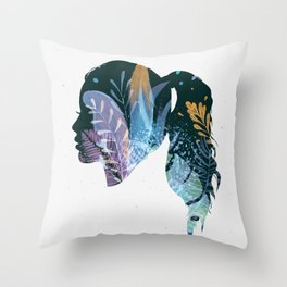 Face silhouette floral in blue tones Throw Pillow