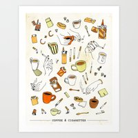 cigarettes Art Prints featuring Coffee & Cigarettes by Kat J. Weiss