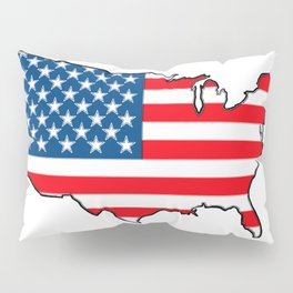 United States Map with American Flag Pillow Sham