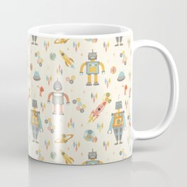 Vintage Inspired Robots in Space Coffee Mug