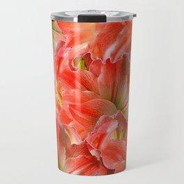 Pink & Red Amaryllis Patterns Floral Art Travel Mug
