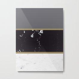 Marble Mix Stripes #1 #black #white #gray #gold #decor #art #society6 Metal Print