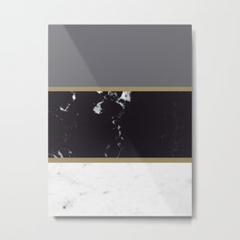 Marble Mix Stripes #1 #black #white #gray #gold #decor #art #society6 Metal Print