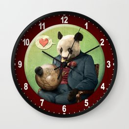 Wise Panda: Love Makes the World Go Around! Wall Clock