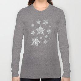 Beautiful Silver glitter sparkles Long Sleeve T-shirt