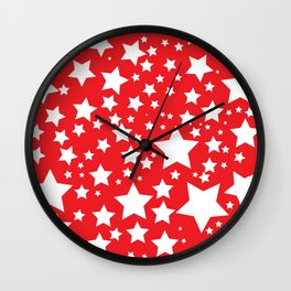 Red with white stars Wall Clock