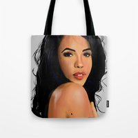 aaliyah Tote Bags featuring One in a million by Spiro 1230