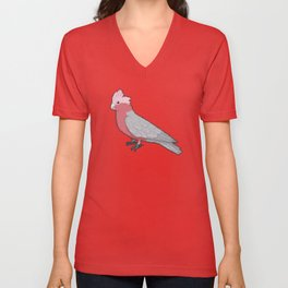 Pixel / 8-bit Parrot: Galah Cockatoo Unisex V-Neck