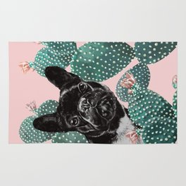 French Bulldog and Cactus Pink Rug