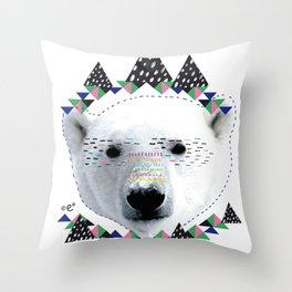 Folk bear Throw Pillow