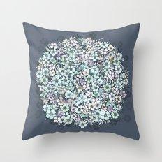 Flower Circle, mist blue Throw Pillow