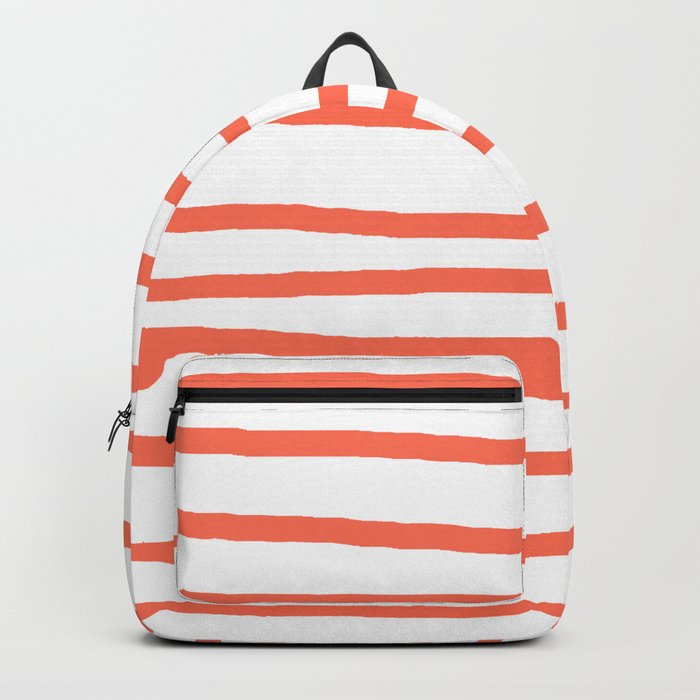 Simply Drawn Stripes in Deep Coral Backpack