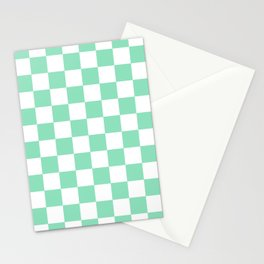 Checkered (Mint & White Pattern) Stationery Cards