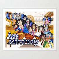 ace attorney Art Prints featuring Ace Attorney  by Derede (RM Prod)