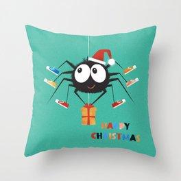 Happy Christmas Santa Spider Throw Pillow