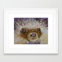 hedgehog Framed Art Prints featuring Hedgehog by Michael Creese