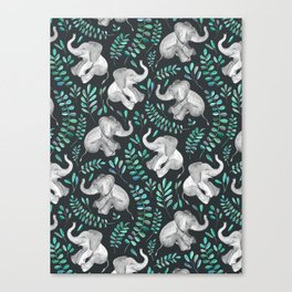 Laughing Baby Elephants – emerald and turquoise Canvas Print