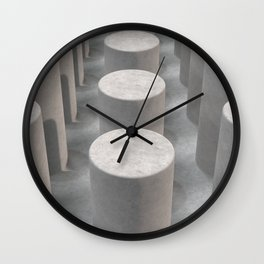 Concrete with cylinders Wall Clock