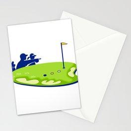 Golfer Caddie Golf Course Retro Stationery Cards