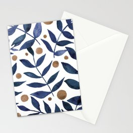 Watercolor berries and branches - indigo and beige Stationery Cards