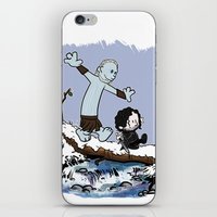 hobbes iPhone & iPod Skins featuring Jon and Hobbes beyond the wall by BovaArt