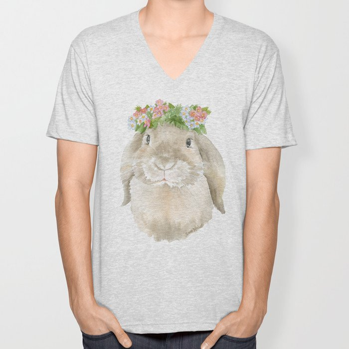 Lop Rabbit Floral Wreath Watercolor Painting Unisex V-Neck