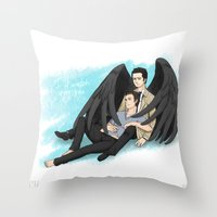 destiel Throw Pillows featuring Fluffy Muffly Destiel by bayobayo