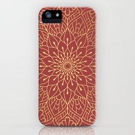 Gold Mandala Pattern On Cherry Red iPhone Case