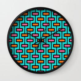 Mid Century Modern, Turquoise Pattern Wall Clock