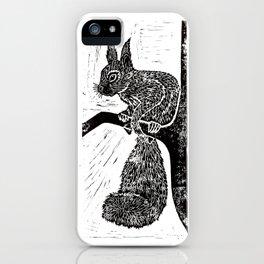 Red Squirrel Lino Print iPhone Case