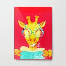 Librarian Giraffe Metal Print