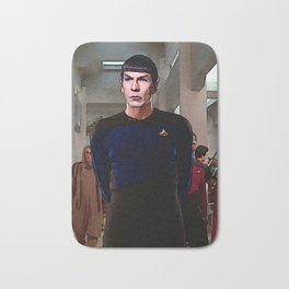 Spock from TOS in TNG uniform Bath Mat