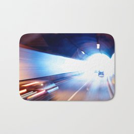 Exit of a tunnel. Blurred motion Bath Mat