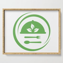 leaves symbolizing Vegetarian friendly diet by European Vegetarian Union Serving Tray