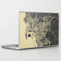 san diego Laptop & iPad Skins featuring San Diego Map by Map Map Maps