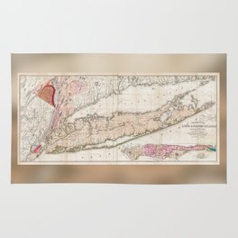 1842 Map of Long Island Rug