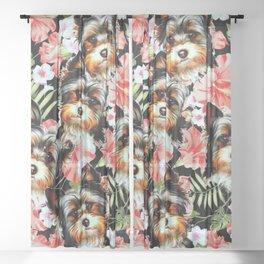 Yorkshire Terrier Flowers Garden Sheer Curtain